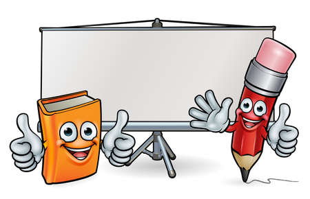 Book and Pencil Mascots and Whiteboard Illustration