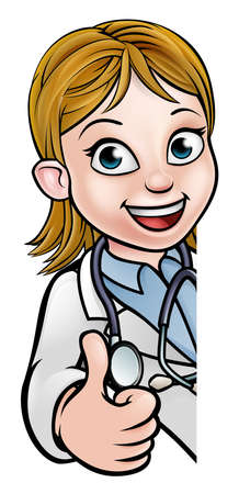 Doctor Thumbs Up Cartoon Character Sign
