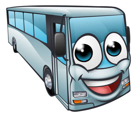 A bus cartoon character mascot 向量圖像