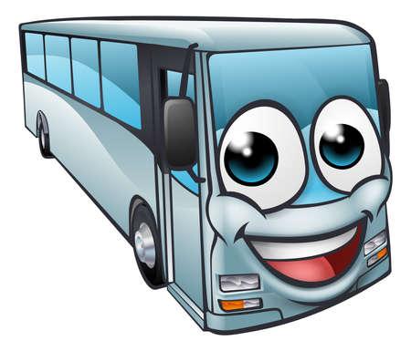 Une mascotte de personnage de dessin animé d'autobus