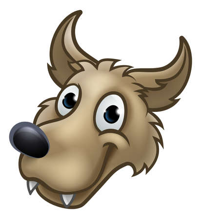 Cartoon Wolf Character Mascot Çizim