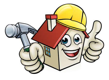 Personaje de dibujos animados de la mascota de construcción de casa