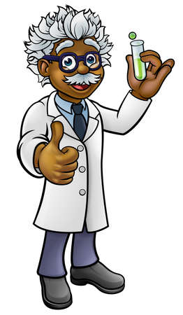 A cartoon scientist professor wearing lab white coat. Illustration