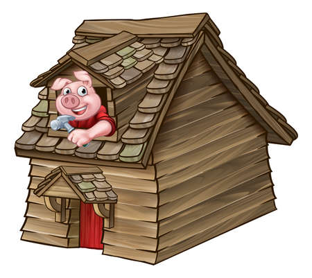 Three Little Pigs Fairy Tale Wood House Illustration