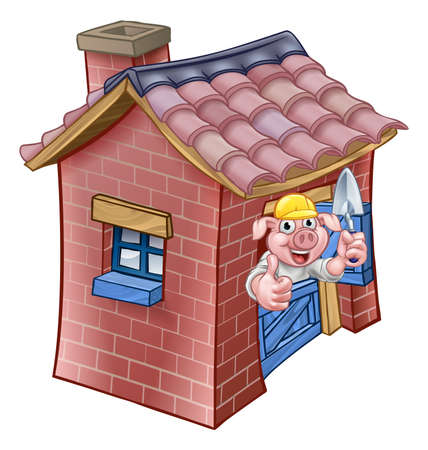Three Little Pigs Fairy Tale Brick House Illustration