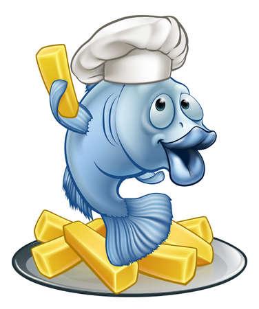 Fish and chips illustration.  イラスト・ベクター素材