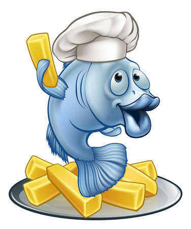 Fish and chips illustration. Stock Illustratie