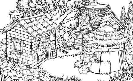 The three little pigs illustration. Vetores