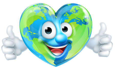 Earth Heart mascotte stripfiguur Stock Illustratie