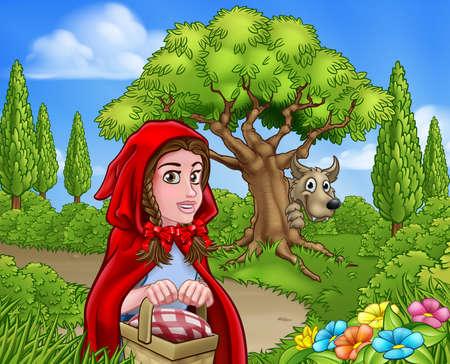 작은 빨간 승마 후드와 늑대 장면
