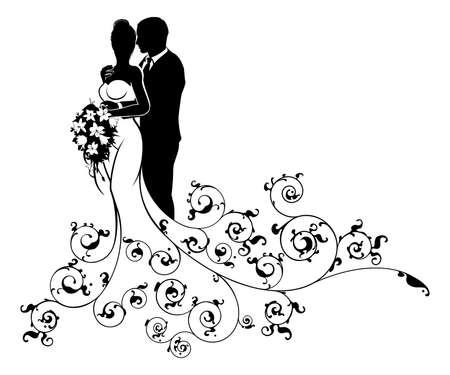 Bride oraz Grooma Sylwetki Konstrukcji Ślubnej Ilustracje wektorowe