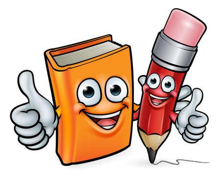 本と鉛筆漫画のキャラクター