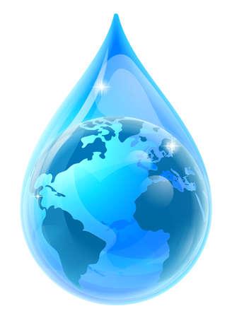 世界地球世界水滴ドロップ  イラスト・ベクター素材