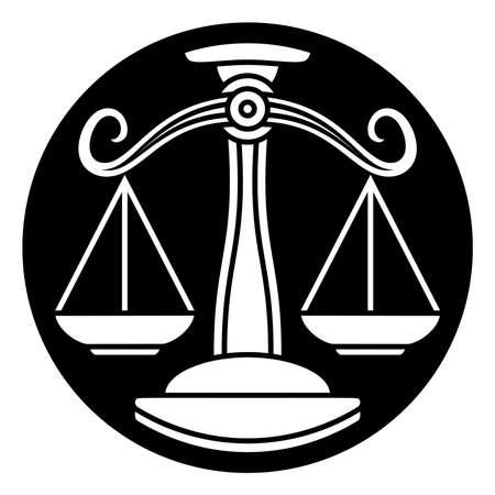 サークル天秤座星座占星術星座記号アイコンをスケールします。  イラスト・ベクター素材