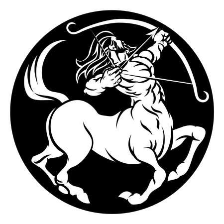Een boogschutter centaur horoscoop astrologie sterrenbeeld teken icoon Stock Illustratie