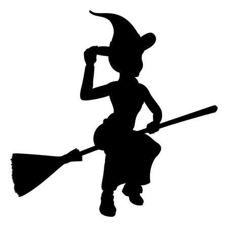 Heks Halloween vriendelijke cartoon karakter vliegen op een bezemstok silhouet