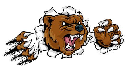 그것의 발톱으로 배경을 통해 침입하는 곰 화가 동물 스포츠 마스코트