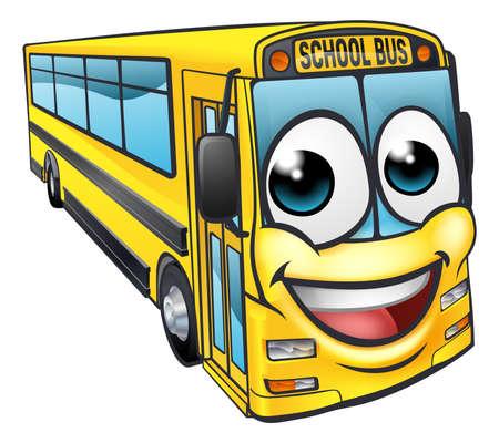 Mascotte de personnage de dessin animé de bus scolaire Banque d'images - 86312916