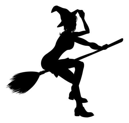 Heks Flying On Broomstick Halloween Silhouet