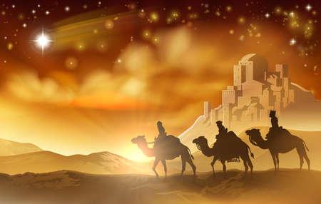 De drie wijzen magiërs op hun reis langs de ster van Bethlehem en de stad op de achtergrond. Een kerststal illustratie