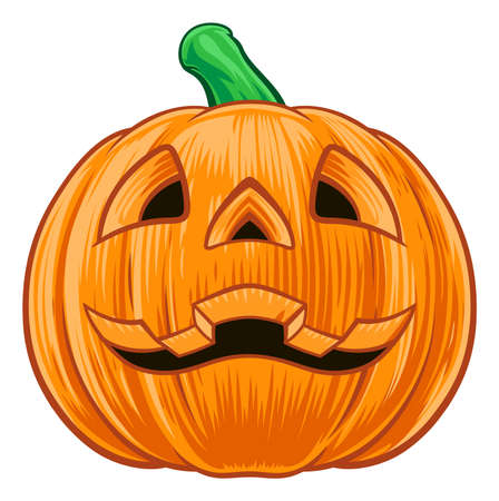 An illustration of a cartoon Halloween pumpkin carved with a face on it Illustration