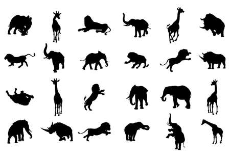 An African animal safari silhouette set including elephants, giraffes, rhinos and lions Illustration