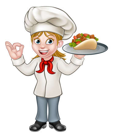 A cartoon female chef character holding a kebab Çizim
