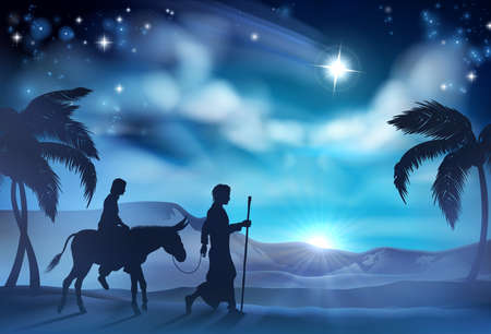 Nativity Christmas illustration of Joseph and Virgin Mary riding a donkey on their journey in the desert with the star of Bethlehem in the background