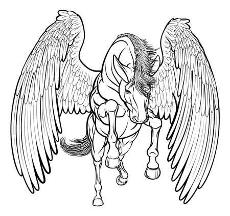 Un'illustrazione di un cavallo di Pegaso dalla mitologia greca che si eleva sulle zampe posteriori posteriori