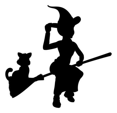 Witch and Cat Flying On Broomstick Silhouette Illustration