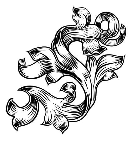 Scroll Floral Filigree Pattern Heraldry Design Illustration