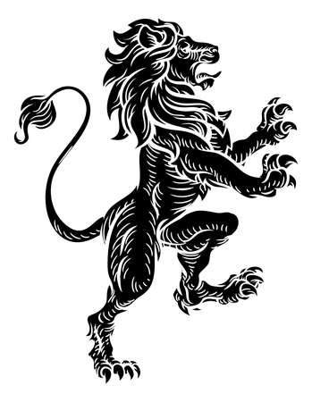 Heraldic Lion Standing Rampant On Hind Legs Illustration