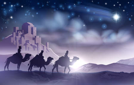 Three Wise Men Nativity Christmas Illustration