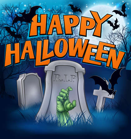 Happy Halloween Monster Zombie Cartoon Sign Illustration
