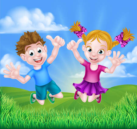 Happy cartoon young boy and girl kids jumping for joy and giving thumbs up outdoors in a field Illustration