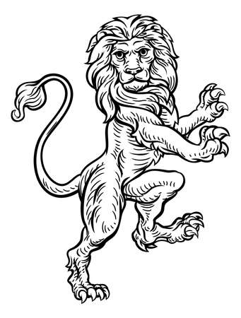 A lion standing rampant on its hind legs from a coat of arms or heraldic crest