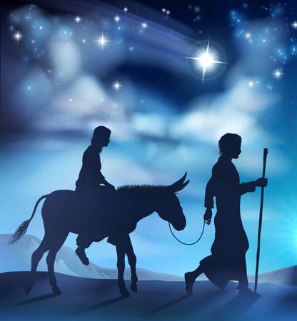A nativity Christmas illustration of the the Virgin Mary and Joseph with donkey on their journey and the star of Bethlehem in the background