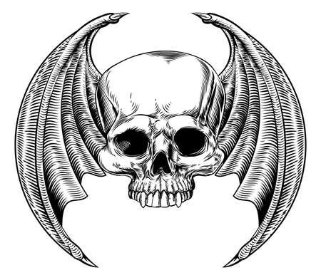 Cranio alato malvagio Vettoriali