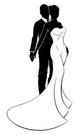 Bruiloft Silhouet van bruid en bruidegom