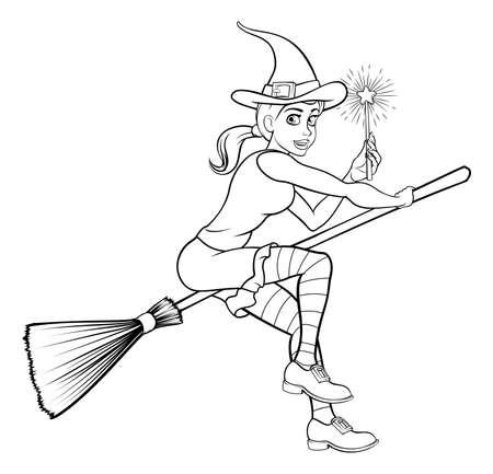 Cartoon Halloween Witch and Magic Wand