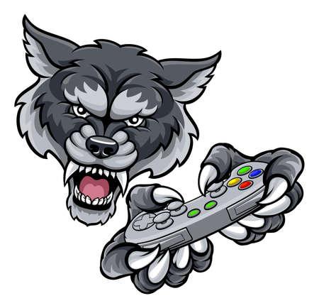 狼プレイヤーのゲーマー マスコット