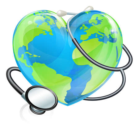 Stethoscope Heart Earth World Globe Health Concept Illustration