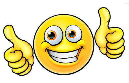 Happy thumbs up emoji emoticon on white background.