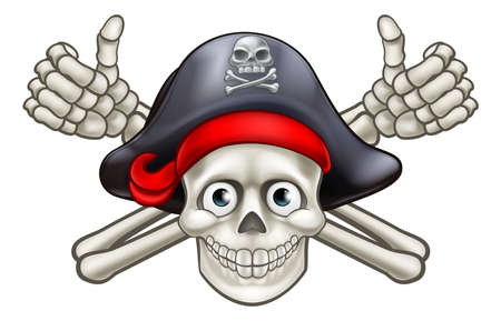 Skull and crossbones pirate cartoon on white background.