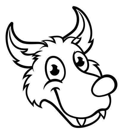 Wolf cartoon character face on white background. Illustration