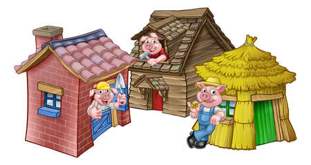 The three little pigs fairy tale houses on white background.