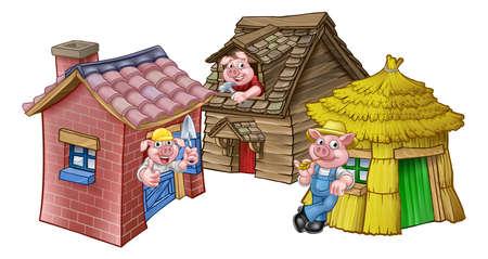 Trzy małej świni bajki domu na białym tle.