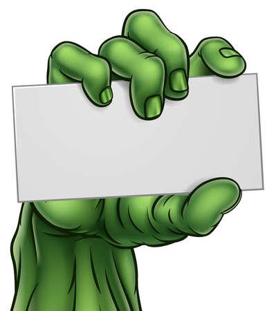 Zombie Monster Halloween mano con cartel en blanco Foto de archivo - 87679439