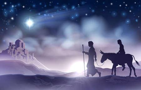 마리아와 요셉의 성탄절 크리스마스 일러스트 레이션