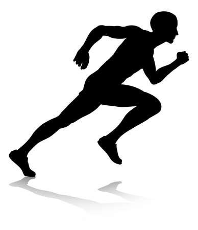 Silhouette Runner sprinten of hardlopen Stockfoto - 87774509
